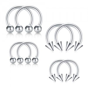 Vcmart 16G Surgical Steel Nose Septum Horseshoe Hoop Earring Eyebrow Tragus Lip Piercing Ring 8mm 10mm 8Pcs