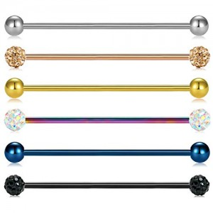 Vcmart 14G Industrial Barbell Earring Cartilage Body Piercing Jewelry 38mm bar