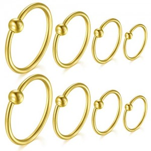Vcmart 20G Nose Rings Hoops Cartilge Earrings Forwards Helix Earrings Lip Ring Monroe Medusa Piercing 8PCS