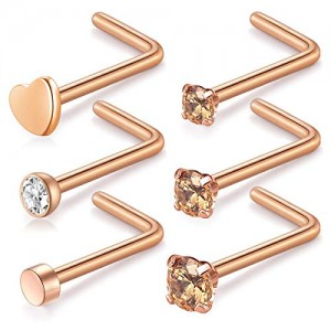 Vcmart Nose Rings Studs 20G L Shape Flat Heart Nose Stud Stainless Steel 1.5mm 2mm 2.5mm Nose Piercing Studs