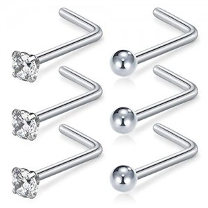 Vcmart Nose Rings Studs 20G 2mm CZ Ball L Shape Nose Ring Stud Stainless Steel Nose Piercing Studs