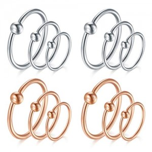 Vcmart 16Pcs 20G 316L Stainless Steel Nose Ring Hoop Cartilage Hoop Septum Piercing 6-12mm
