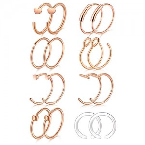 Vcmart 16Pcs 20G 316L Stainless Steel Nose Rings Hoop Tragus Cartilage Helix Ring Lip Septum Piercing 8MM