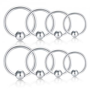 Vcmart 8pcs 18G 20G 22G Stainless Steel Attached Captive Bead Ring Nose Rings Hoop Lip Eyebrow Tragus Helix Cartilage Earring Septum Ring Piercing Jewelry for Men Women 6-12mm
