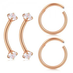 Vcmart 16G Daith Rook Earrings Tragus Forward Helix Piercing Rings Curved Barbells Eyebrow Lip Nose Ring 2PRS 5/16'