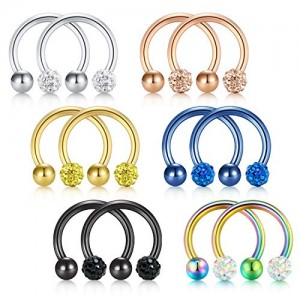 Vcmart 8-12PCS 16G Crystal  Ball Nose Septum Horseshoe Earring Eyebrow Lip Helix Tragus Cartilage Piercing Ring 8mm 10mm