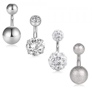 Vcmart 14G 6mm 1/4 Inch 316L Surgical Steel Crystal Matte CZ Ball Short Belly Earring Navel Button Rings