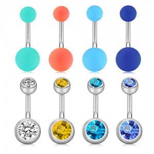 Briana Willams 8-10pcs 14G Stainless Steel Belly Button Rings Navel Ring Piercing 10mm Belly Bar