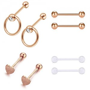 Vcmart 14G 16mm Stainless Steel Tongue Nipple Rings Straight Barbell Tongue Piercing Nipple Piercing for Women Jewelry