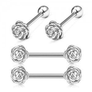 Vcmart 14G 16mm Tongue Rings Nipple Straight Barbells Surgical Steel Rose Top Nipple Piercing for Women