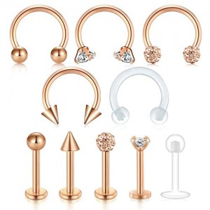 Vcmart 16G Surgical Steel Tragus Piercing Cartilage Helix Earrings Nose Septum Rings Lip Labret Rings 10PCS Horseshoe Rings and Labret Studs