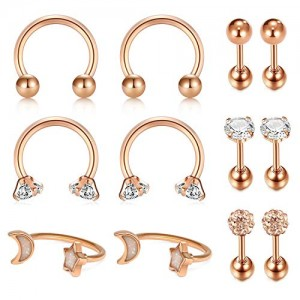 Vcmart 16G(1.2mm) Tragus Cartilage Rook Earrings-Septum Rings Hoop Piercing Snug Helix Daith Earrings Surgical Steel Body Piercing Studs Jewelry