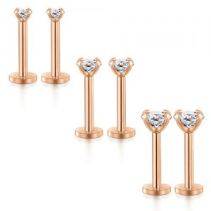 Vcmart 16G 2mm 3mm 4mm Clear Cubic Zirconia Labret Lip Rings Stud Cartilage Tragus Earring Surgical Steel Helix Monroe Piercing Jewelry 8mm Rose Gold Bar