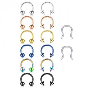 VCMART 14pcs 16G Surgical Steel Horseshoe U-Shaped Nose Ring Septum Ear Cartilage Helix Tragus Eyebrow Conch Hoop Piercing Jewelry Hanger Retainer 8mm Inner
