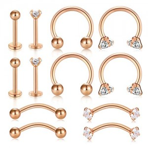 Vcmart Daith Rook Earrings 16G Stainless Steel Cartilage Tragus Earrings Stud CZ Curved Barbell Eyebrow Labret Lip Nose Septum Rings Piercing Jewelry Set