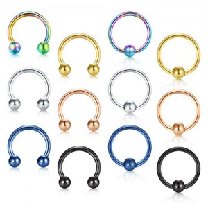 Vcmart 12pcs 16G 316L Stainless Steel Nose Ring Hoop Cartilage Septum Lip Helix Tragus Eyebrow Earrings Nipple Tongue Belly Piercing 6mm 8mm 10mm 12mm