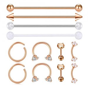 Vcmart 12pcs Stainless Steel Industrial Barbell Cartilage Earrings Hoop Helix Tragus Labret Lip Eyebrow Nose Rings Piercing