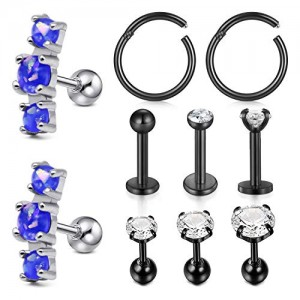 Vcmart Cartilage Tragus Helix Earrings Stud 16G Stainless Steel Forward Helix Earring Hoop Labret Lip Medusa Monroe Piercing Ring