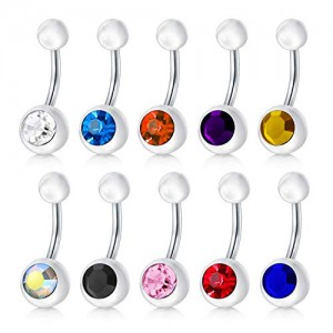 Vcmart 14G 10mm Stainless Steel Belly Button Rings for Women Girls Navel Rings CZ Body Piercing