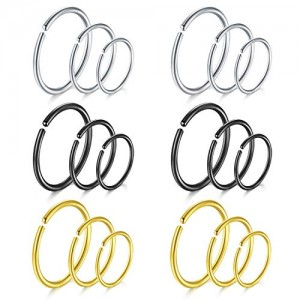 Vcmart 20G Nose Rings Hoop Cartilage Earrings-316L Stainless Steel Fake Nose Septum Ear Helix Piercing Jewelry 18pcs-24pcs