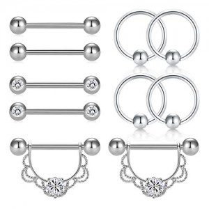 Vcmart 14G 10pcs Nipple Rings CZ Stone Nipple Barbell Piercing Stainless Steel Nipple Tongue Bar Ball Piercing Jewelry Set