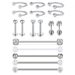 Vcmart 17pcs 14G Stainless Steel Industrial Barbell 16G Cartilage Tragus Helix Earring Piercing Nose Septum Rings Hoop Lip Studs