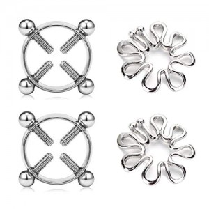 Vcmart 2 Pairs Fake Nipple Rings Nipple Piercings for Women Stainless Steel Piercing Jewelry Set