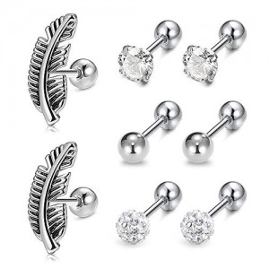 Vcmart 16G Helix Cartilage Tragus Earring Stainless Steel CZ Diamond Ear Piercing Jewelry
