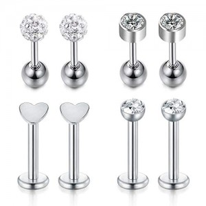 Vcmart 16G Forward Helix Tragus Earring Lip Rings Stainless Steel Daith Tragus Cartilage Piercing Jewelry 4 Pairs