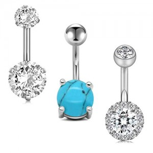 Vcmart 14G 3PCS Belly Button Rings Diamond/Opal/CZ/Pearl/Marble Silver Short Belly Ring Navel Rings Surgical Steel Piercing Set