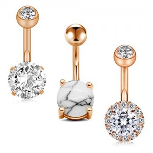 Vcmart 14G Belly Button Rings Navel Rings 316L Stainless Steel Body Piercing 5PCS Rose Gold