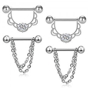 Vcmart 2 Pairs Nipple Rings Tongue Ring Piercing Stainless Steel Barbell Body Jewelry Set Silver Rose Gold