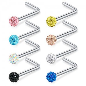 Vcmart 20G Stainless Steel Nose Rings Studs L Shaped Nose Stud Piercing Crystal Ferido Ball Nose Piercing w Replacement Spikes