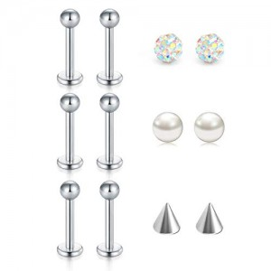 Vcmart 16 Gauge Forward Helix Earring Stainless Steel Tragus Cartilage Earring Stud with Pearl Arrow Crystal Balls Piercing Jewelry