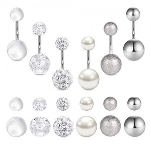 Vcmart 14G Stainless Steel Belly Button Rings for Women Girls w Replacement Balls 10mm Belly Navel Barbell Piercing Jewelry