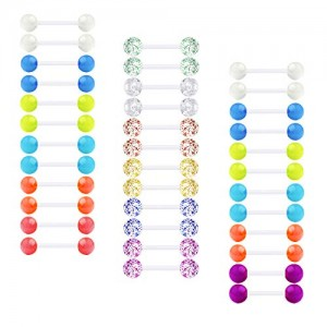Vcmart Nipple Tongue Rings Nipplerings 14G Piercing Barbell Plastic Flexible Clear Bar Retainer Glow in The Dark Ball Glitter for Women Men 36pcs 12-18mm