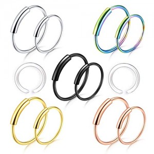Vcmart 18G 22G Nose Rings Hoop Nose Piercing for Women Stainless Steel Piercing Set 8mm 10mm
