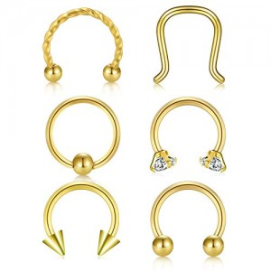 Vcmart Fake Septum Rings Faux Nose Rings Hoop 16G Surgical Steel Horseshoe Barbell Daith Tragus Lobe Helix Rook Cartilage Earrings Piercing Body Jewelry