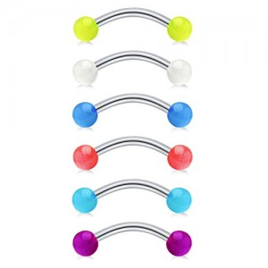 Vcmart 14G Glow in The Dark Acrylic Balls Stainless Steel Curved Horseshoe Barbell Belly Button Rings Eyebrow Rings Septum Rings Piercing Jewelry