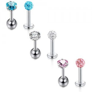 Vcmart 6-8Pcs Ear Tragus Studs 16G Stainless Steel CZ Heart Star Shaped Labret Studs Cartilage Helix Daith Conch Stud Earrings Monroe Medusa Lip Piercing,6mm Bar Length