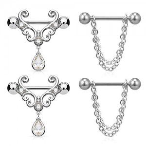 Vcmart Nipple Rings Heart Nipple Piercings Women 14G Surgical Steel Chain Dangle Nipple Barbell Piercing with Tear Drop CZ Arrow 3/4' 18mm Bar