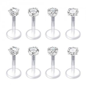 Vcmart 8 Pcs 16G 6mm Clear Bioflex CZ Stone Opal Cartilage Helix Tragus Studs Earrings Stud Piercing