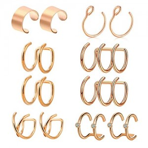 Vcmart Ear Cuff Earrings Non Pierced Fake Lip Nose Septum Ring Hoop Adjustable Clips On Wraps Ear Cartilage Helix Rings Conch Tragus Piercing jewelry for Women Men