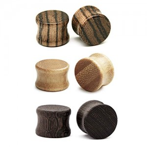 Vcmart 3 Pairs Natural Wooden Ear Tunnels Plugs Solid Double Flared Ear Expander Plugs Ear Piercing Ear Stretcher for Women and Men Gauge 8-20mm