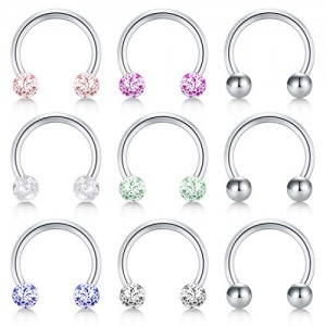 Vcmart Nose Septum Rings Hoop 14G Surgical Steel Horseshoe Barbell Lip Rings Ear Helix Cartilage Tragus Rook Daith Lobe Piercing Barbell Earrings for Women Men