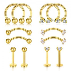 Vcmart Rook Helix Earrings Barbell 16G 6pairs Eyebrow Rings Surgical Steel Lip Rings with Diamond CZ Tragus Cartilage Daith Earrings Hoop Horseshoe Nose Rings Hoop Piercing Jewelry