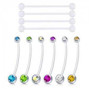 Vcmart Pregnancy Belly Button Rings Industrial Barbell Earrings Flexible Bioflex Navel Belly Rings Clear Retainer CZ 14G Bar 38mm 1 1/2 inch