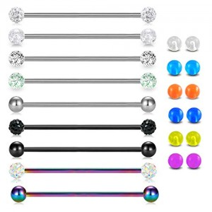 Vcmart Industrial Barbell 14G Earrings Kit Surgical Steel Ear Cartilage Industrial Piercing Bar Body Jewelry for Women Men W Replacement Balls 32mm 35mm 38mm