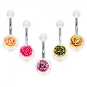 Vcmart 14G Stainless Steel Belly Button Rings for Women Girls Colorful Rose Top Belly Navel Barbell Rings 6mm 8mm 10mm Belly Bar Body Piercing Jewelry