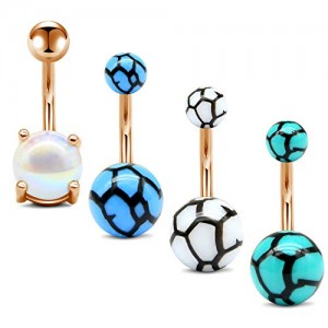 Vcmart Pearl Belly Button Rings Pack Surgical Steel Marbled Curved Navel Barbell Body Piercing Jewelry for Women Girls 14G Short Bar 6mm 10mm